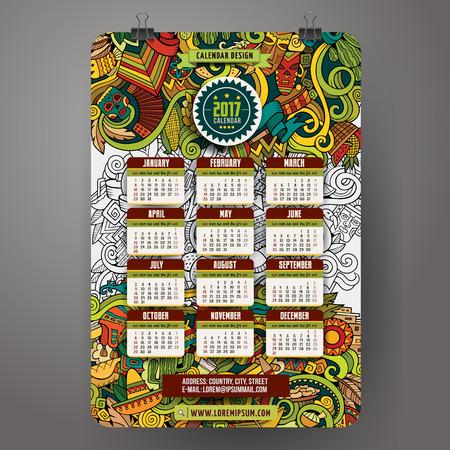 machu: Doodles cartoon Latin American Calendar 2017 year design, English, Sunday start.