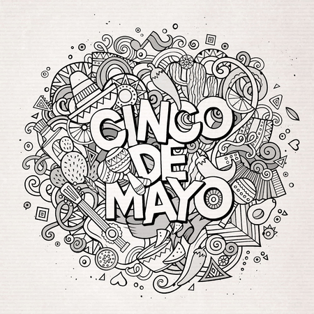 latinoamerica: Cinco de Mayo. Cartoon vector hand drawn Doodle illustration. Line art detailed design background with objects and symbols. All objects are separated