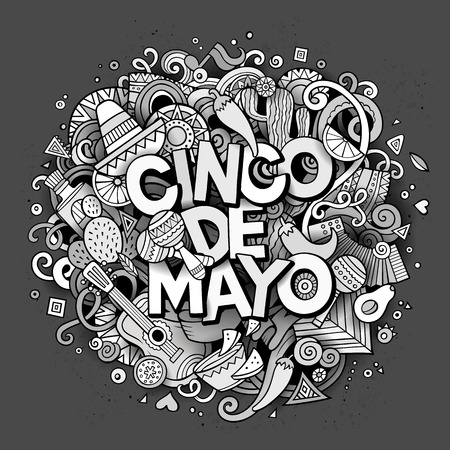 design objects: Cinco de Mayo sketchy outline festive background. Cartoon vector hand drawn Doodle illustration. Line art detailed design with objects and symbols. All objects are separated