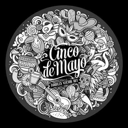 Cinco de Mayo. Cartoon vector hand drawn Doodle illustration. Line art detailed round design background with objects and symbols. All objects are separated Vectores