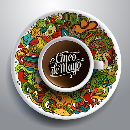 latin american: Vector illustration with a Cup of coffee with hand drawn Latin American doodles on a saucer