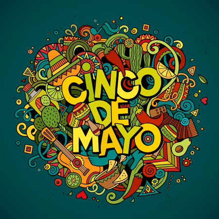 Cinco de Mayo colorful festive background. Cartoon vector hand drawn Doodle illustration. Multicolored bright detailed design with objects and symbols. All objects are separated Vettoriali