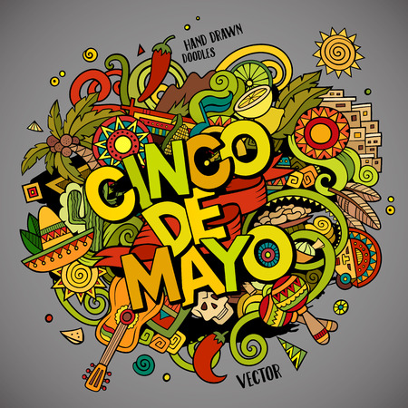 nachos: Cinco de Mayo colorful festive background. Cartoon vector hand drawn Doodle illustration. Multicolored bright detailed design with objects and symbols. All objects are separated Illustration