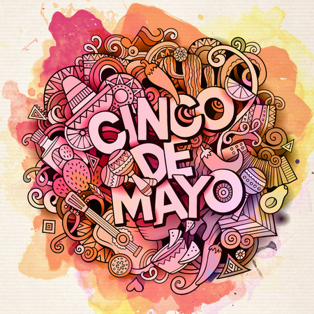 Cinco de Mayo. Cartoon vector hand drawn Doodle illustration. Watercolor detailed design background with objects and symbols. All objects are separated