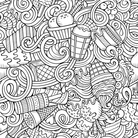 vanilla cake: Cartoon hand-drawn ice cream doodles seamless pattern. Line art detailed, with lots of objects vector background Illustration