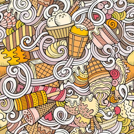 alimentos congelados: Dibujos animados dibujados a mano garabatos de helado patrón transparente. Colorido detallado, con una gran cantidad de objetos de fondo vector