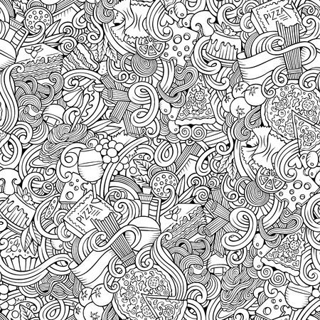 pasta: garabatos dibujado a mano de dibujos animados patrón transparente de cocina italiana. dibujos detallados, con una gran cantidad de objetos de fondo vector