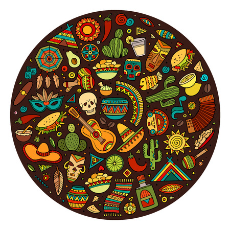 라틴 아메리카 개체 및 기호 집합 다채로운 벡터 손으로 그린 낙서 만화. 라운드 디자인