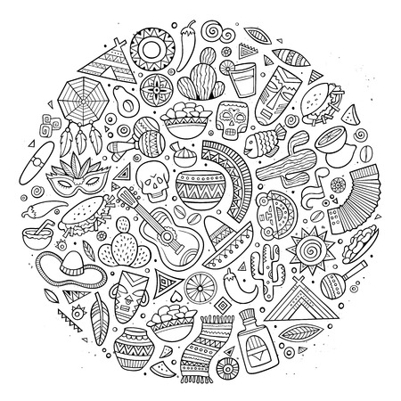 machu picchu: Line art vector hand drawn doodle cartoon set of Latin American objects and symbols. Round design