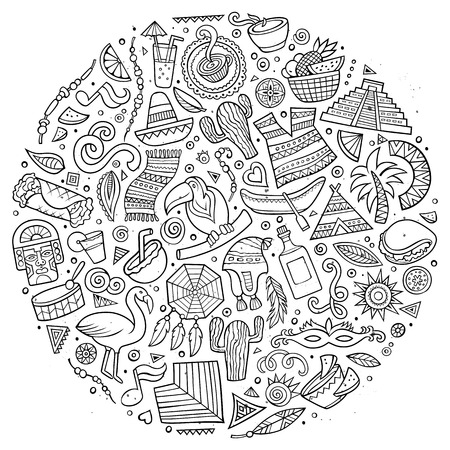 picchu: Line art vector hand drawn doodle cartoon set of Latin American objects and symbols. Round design