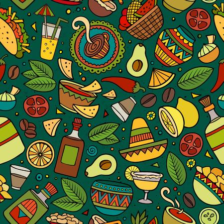 Cartoon lateinamerikanisch, mexikanisch nahtlose Muster Hand gezeichnet. Viele Symbole, Objekte und Elemente. Perfekte lustige Vektor-Hintergrund.