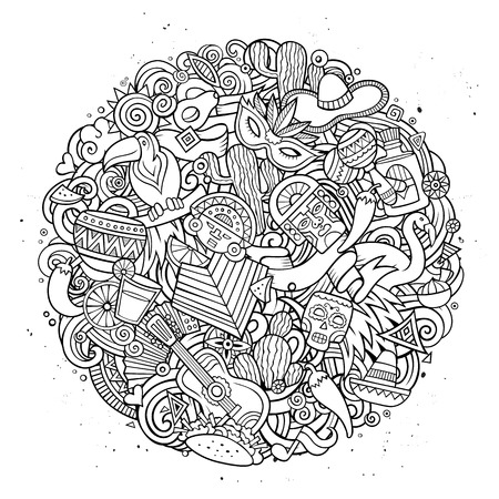 Cartoon vector hand drawn Doodle Latin American illustration. Line art round detailed design background with objects and symbols. All objects are separated