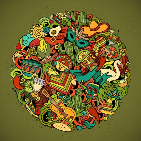 만화 벡터 손 낙서에게 라틴 아메리카 원으로 그린 그림. 개체 및 기호 다채로운 라운드 상세한 디자인 배경입니다. 모든 개체는 구분됩니다. 놀라