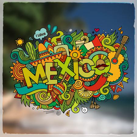 Mexique Les éléments de lettrage à la main et de griffonnages et symboles emblème. Vector floue fond Vecteurs
