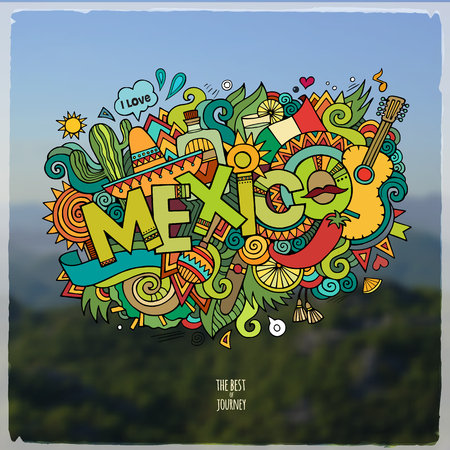 poncho: Mexico hand lettering and doodles elements and symbols emblem. Vector blurred background Illustration
