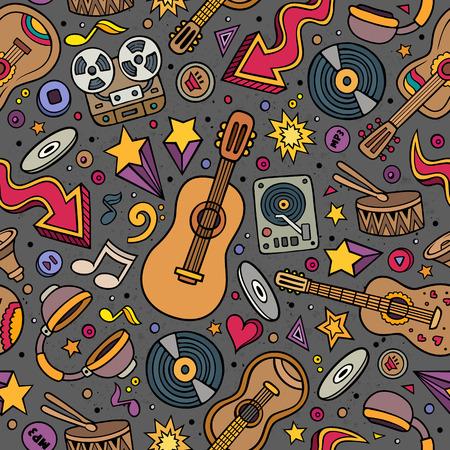 instrumentos musicales: Dibujos animados dibujados a mano instrumentos musicales patrón transparente. Un montón de símbolos musicales, objetos y elementos. Perfecta de azulejos multicolores vector de fondo divertido. Vectores