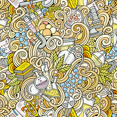 science lab: Cartoon hand-drawn science doodles seamless pattern. Detailed, with lots of objects vector background
