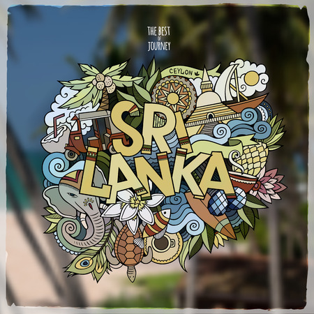 stupa: Sri Lanka hand lettering and doodles elements emblem. Vector blurred background