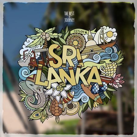 tea plantation: Sri Lanka hand lettering and doodles elements emblem. Vector blurred background