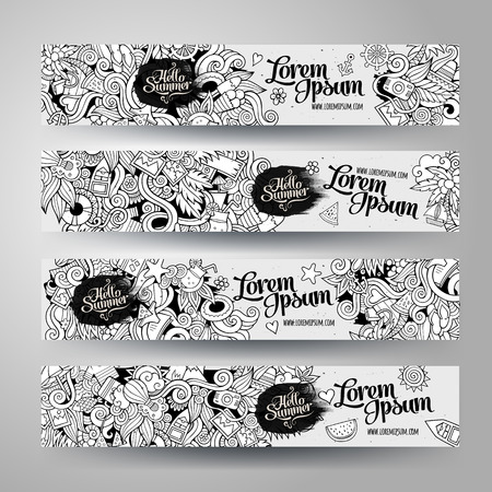 tree line: Cartoon line art vector hand-drawn Doodle on the subject of summer time. Horizontal banners design templates set