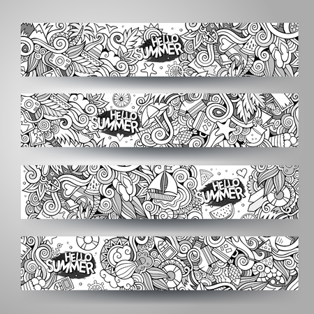 watermelon boat: Cartoon line art vector hand-drawn Doodle on the subject of summer time. Horizontal banners design templates set