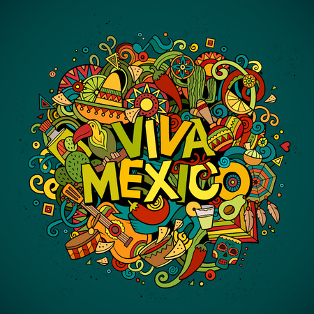 separated: Viva Mexico colorful festive background. Cartoon vector hand drawn Doodle illustration. Multicolored bright detailed design with objects and symbols. All objects are separated Illustration