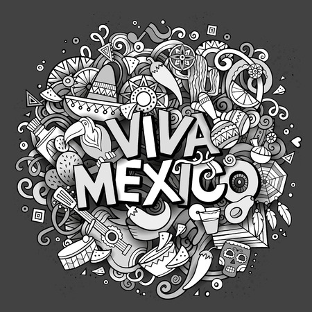 latinoamerica: Viva Mexico sketchy outline festive background. Cartoon vector hand drawn Doodle illustration. Line art detailed design with objects and symbols. All objects are separated