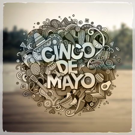latinoamerica: Cinco de Mayo. Cartoon vector hand drawn Doodle illustration. Detailed design with objects and symbols. All objects are separated. Vector blurred background