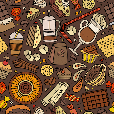 teatime: Cartoon hand-drawn coffee, coffee shop, cafe, tea, sweets seamless pattern. Lots of symbols, objects and elements. Perfect funny vector background.