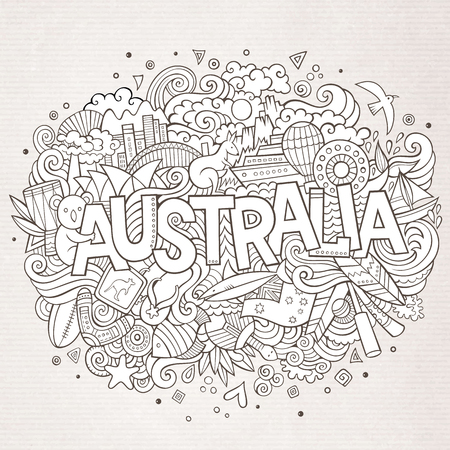 Australia country hand lettering and doodles elements and symbols background. Vector hand drawn sketchy illustration 矢量图像