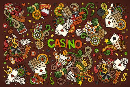 vector de la mano de colores conjunto de dibujos animados garabatos de objetos y símbolos del casino