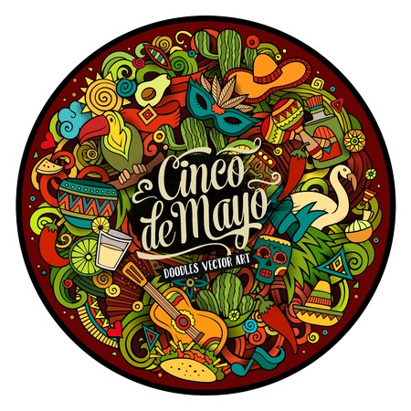 latinoamerica: Cinco de Mayo. Cartoon vector hand drawn Doodle illustration. Colorful detailed round design background with objects and symbols. All objects are separated