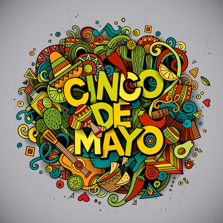 Cinco de Mayo colorful festive background. Cartoon vector hand drawn Doodle illustration. Multicolored bright detailed design with objects and symbols. All objects are separated
