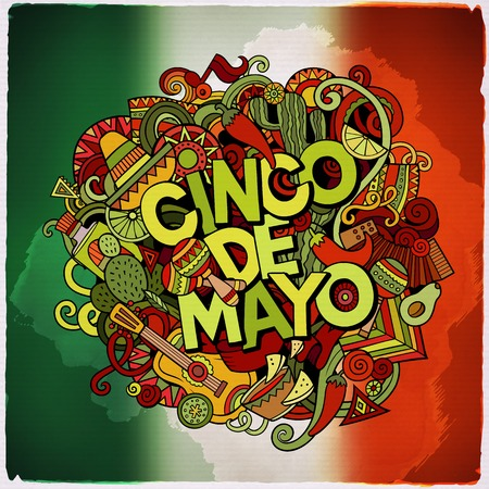 latinoamerica: Cinco de Mayo colorful festive message. Cartoon vector hand drawn Doodle illustration. Multicolored bright detailed design with objects and symbols. The flag of Mexico blurred background.