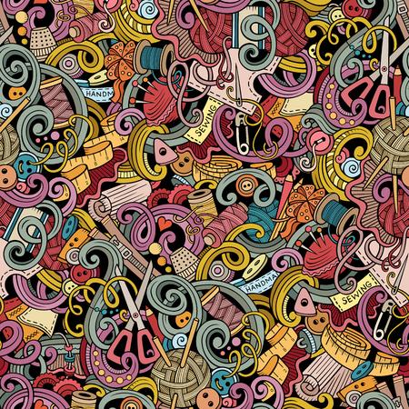 Karikatur von Hand gezeichnet handgefertigt und Nähen Doodles nahtlose Muster. Bunte detaillierte, mit vielen Objekten Vektor-Hintergrund Vektorgrafik