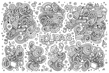 hand set: Line art vector hand drawn Doodle cartoon set of holidays objects and symbols