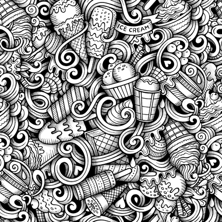 Cartoon hand drawn ice cream doodles seamless pattern. Line art detailed, with lots of objects vector trace background