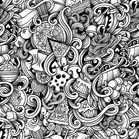 Cartoon hand drawn italian food doodles seamless pattern. Trace line art detailed, with lots of objects vector background Vector Illustration