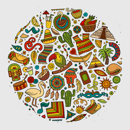 picchu: Colorful vector hand drawn doodle cartoon set of Latin American objects and symbols. Round design