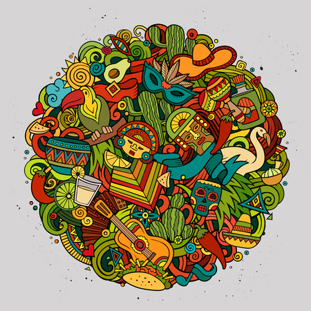 Cartoon vector hand drawn Doodle Latin American circle illustration. Colorful round detailed design background with objects and symbols. All objects are separated. Amazing bright colors.