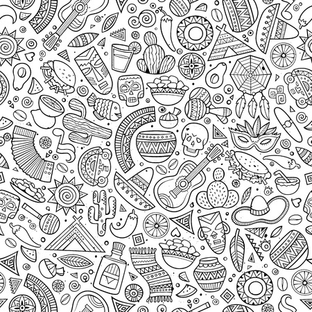 mexican background: Cartoon line art hand-drawn latin american, mexican seamless pattern. Lots of symbols, objects and elements. Perfect funny vector background.