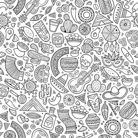 De dibujos animados gráficos de línea dibujados a mano americana patrón transparente latino, mexicano. Un montón de símbolos, objetos y elementos. Perfecto fondo divertido del vector.