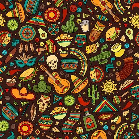 Dibujados a mano de dibujos animados patrón transparente americano latino, mexicano. Un montón de símbolos, objetos y elementos. Perfecto fondo divertido del vector. Ilustración de vector