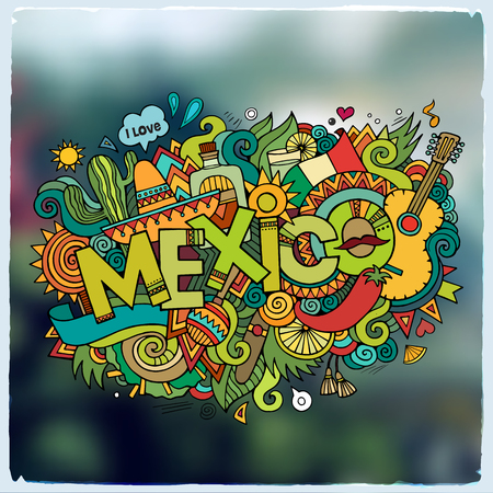 types of cactus: Mexico hand lettering and doodles elements and symbols emblem. Vector blurred background Illustration