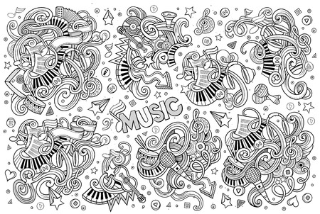 music notes vector: Sketchy vector hand drawn doodles cartoon set of Music objects and symbols