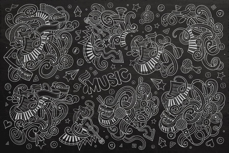 chalk board: Chalkboard vector hand drawn doodles cartoon set of Music objects and symbols