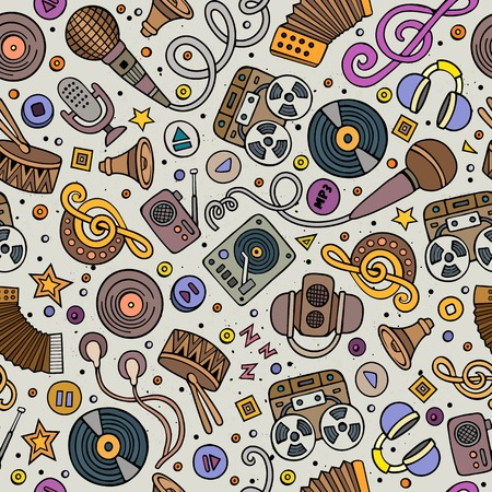 art vector: Cartoon hand-drawn musical instruments seamless pattern. Lots of music symbols, objects and elements. Perfect funny multicolored tile vector background. Illustration