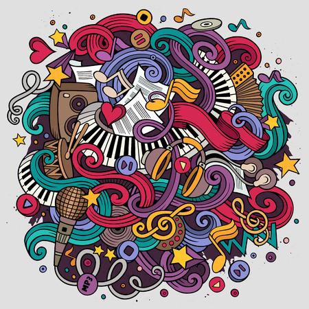 Cartoon hand getekende doodles Musical illustratie. Kleurrijk gedetailleerd, met veel objecten vector achtergrond