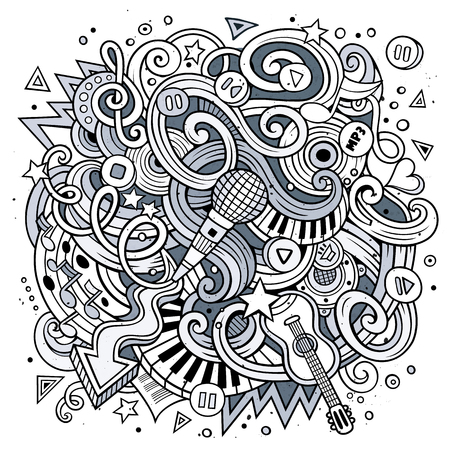 rhythm: Cartoon hand-drawn doodles Musical illustration. Line art detailed, with lots of objects vector background