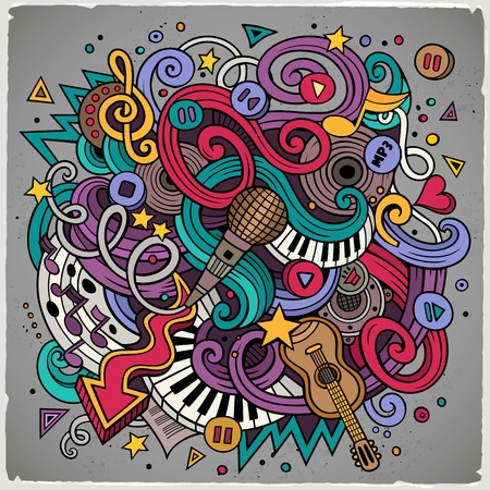 rhythm: Cartoon hand-drawn doodles Musical illustration. Colorful detailed, with lots of objects vector background
